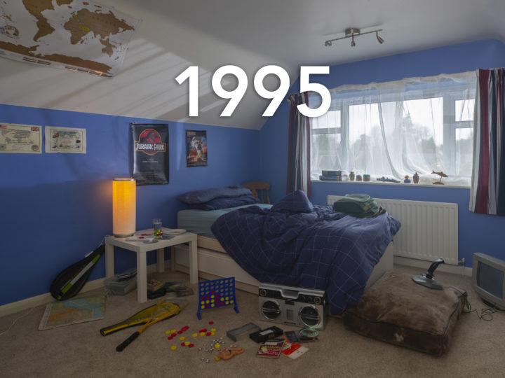 Sexual violence campaign. A classic 90s child's bedroom, toys surround an unmade bed and the walls are painted blue, the year 1995 is written over the photo