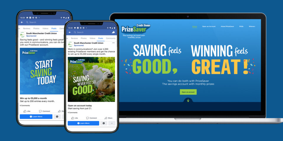 PrizeSaver mackbook and phones mockup each electronic device shows the Prize Saver slogan, Saving never felt so good.