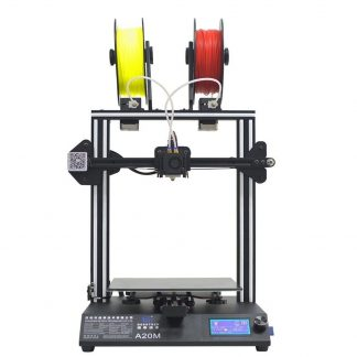 3D printer with yellow and red filament