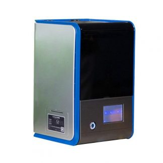 silver and blue 3D printer