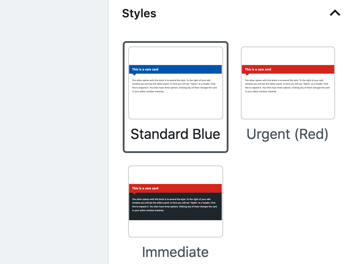 Style options for the care card