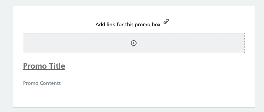 Initial editor view of promo block