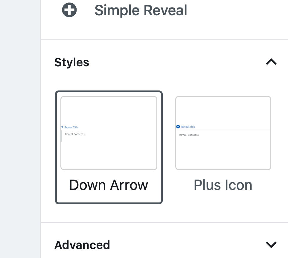 simple reveal style options