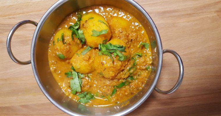 Dum Aloo Recipe   Potatoes in Tomato & Yoghurt Gravy