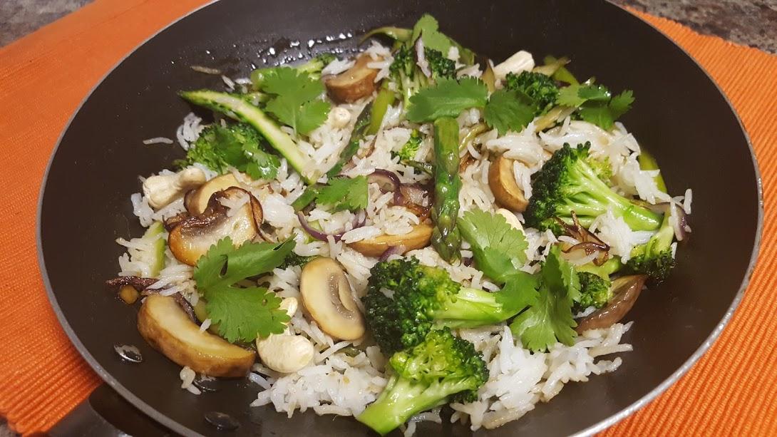 Broccoli, Asparagus, Mushroom Rice with Caramelized Onions and Cashews