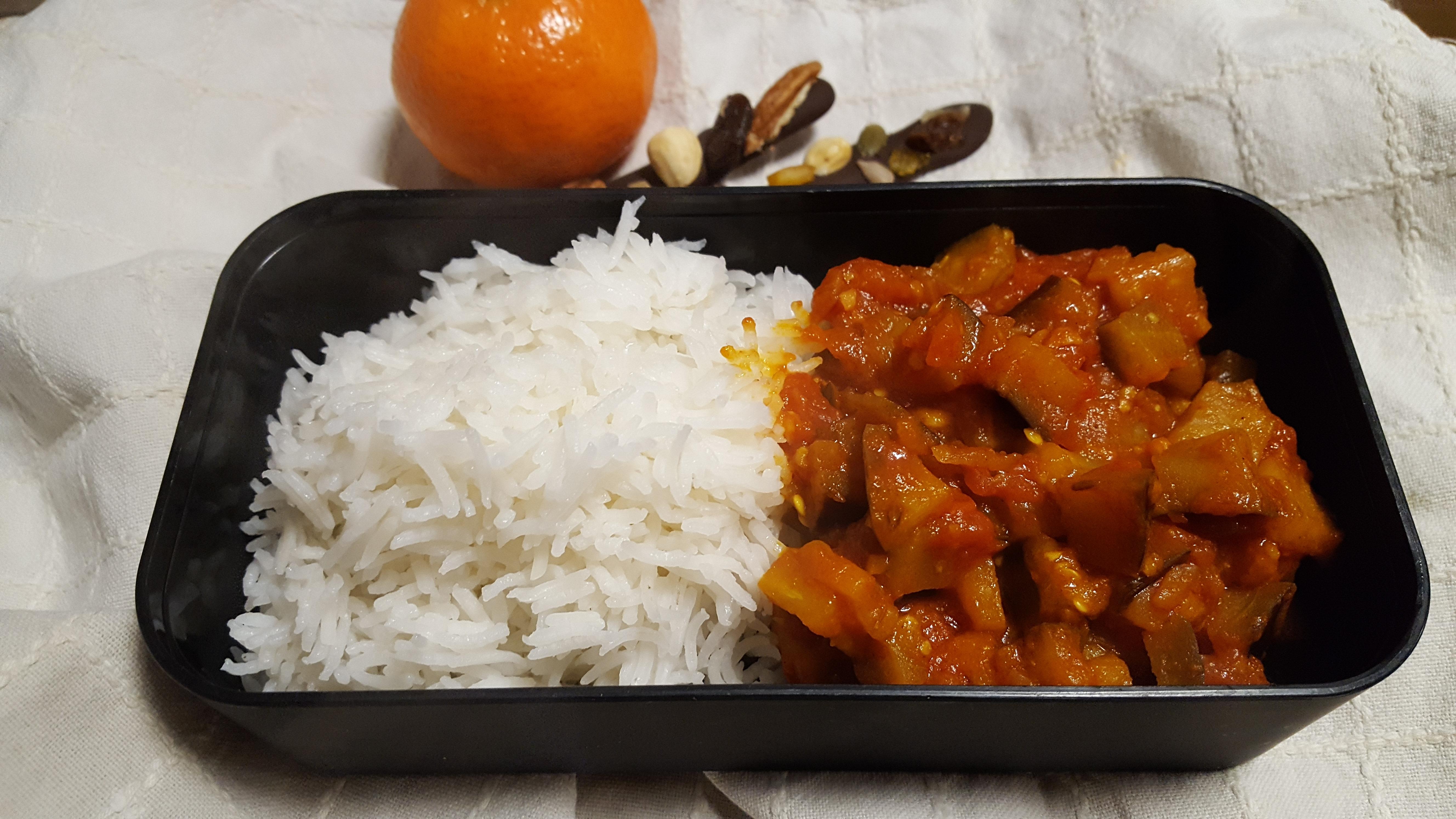 Aubergine & Tomato Stew with basmati rice - Lunch box ideas