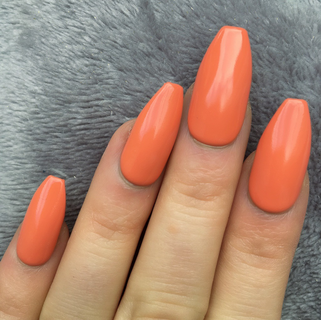 Tangy Orange Gloss Long Coffin – Doobys Nails