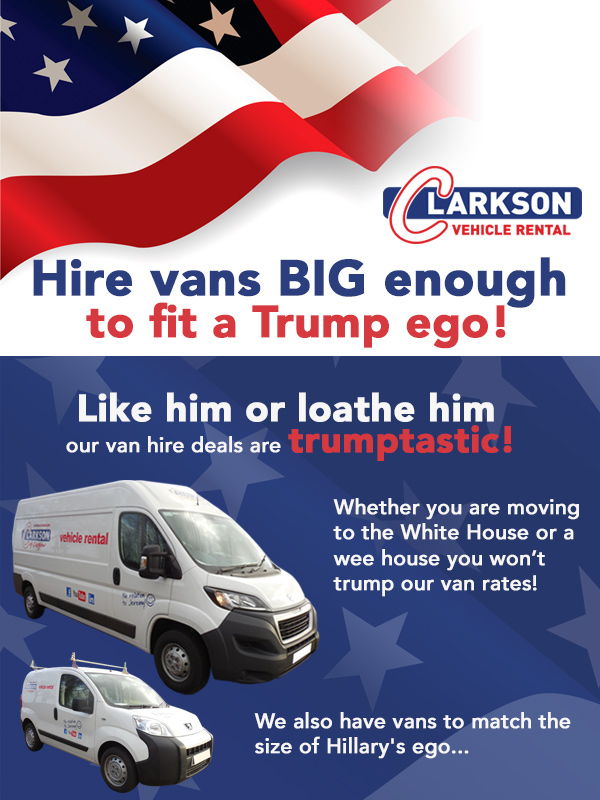 Trump ! Will his hair do fit in a Clarkson van ??