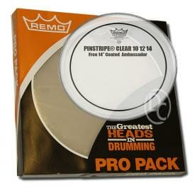 Remo Clear Pinstripe Pro Pack 10/12/14 Inc FREE 14 inch Drum Head-0