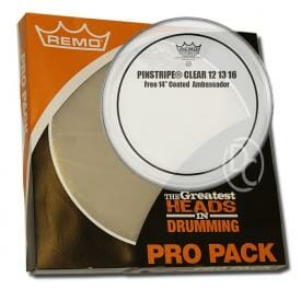 Remo Clear Pinstripe Pro Pack 12/13/16 Inc FREE 14 inch Drum Head-0