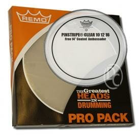 Remo Clear Pinstripe Pro Pack Rock Fusion 10/12/16 Inc FREE 14 inch Drum Head-0