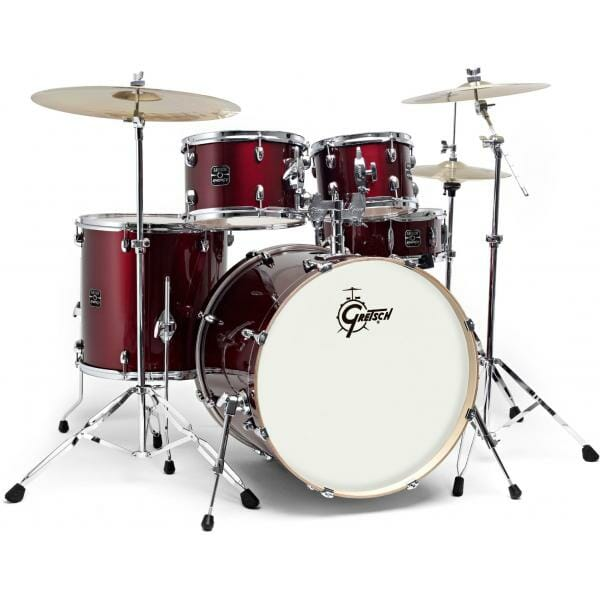 """GRETSCH Energy, 10""""/12""""/14""""/20""""+14SD, Drum Kit with Hardware and Paiste 101 Cymbal Pack, Wine Red"""