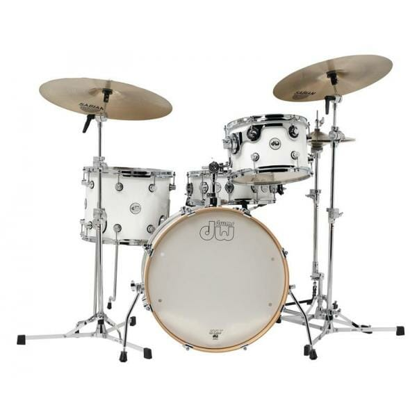 """DW Design Series Frequent Flyer, 12""""/14""""/20""""/14""""SD Shell Pack, Gloss Lacquer, White"""