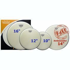 "Remo Ambassador Coated Rock Pack 10/12/16 + FREE 14"""