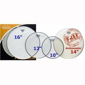 "Remo Emperor Clear LA Fusion Pack 10/12/16"" + FREE 14"" Ambassador Coated"