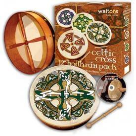 "Waltons 12"" Bodhran, Gaelic Cross"