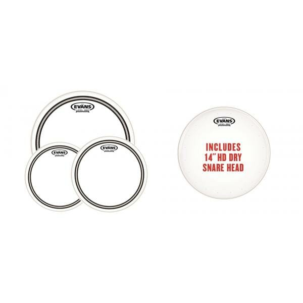 """EVANS EC2S CLEAR FUSION PACK (10"""", 12"""", 14"""") WITH 14"""" HD DRY SNARE BATTER"""