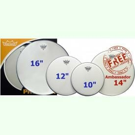 Remo 10,12,16 Emperor Coated Rock Fusion ProPack Plus 14in Ambassador Snare Head