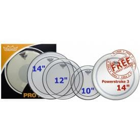 Remo 10,12,14 Pinstripe Clear Fusion ProPack Plus 14in Powerstroke 3 Snare Head