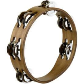 Meinl Compact Wood Tambourine 2 Rows, Stainless Steel Jingles, Walnut Brown