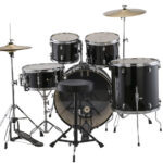 Ludwig 22 Accent Fuse 5 Piece Drum Kit with Hardware, Throne and Cymbals – Black Cortex 2