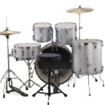 Ludwig 22″ Accent Fuse 5 Piece Drum Kit with Hardware, Throne and Cymbals – Silver Foil