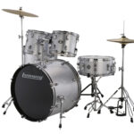 Ludwig 22 Accent Fuse 5 Piece Drum Kit with Hardware, Throne and Cymbals – Silver Foil