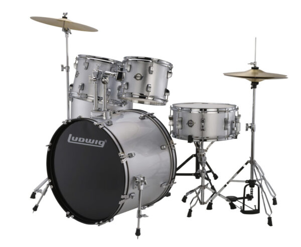 """Ludwig 22"""" Accent Fuse 5 Piece Drum Kit with Hardware, Throne and Cymbals - Silver Foil"""