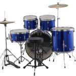Ludwig 22″ Accent Fuse 5 Piece Drum Kit with Hardware, Throne and Cymbals – Blue Foil