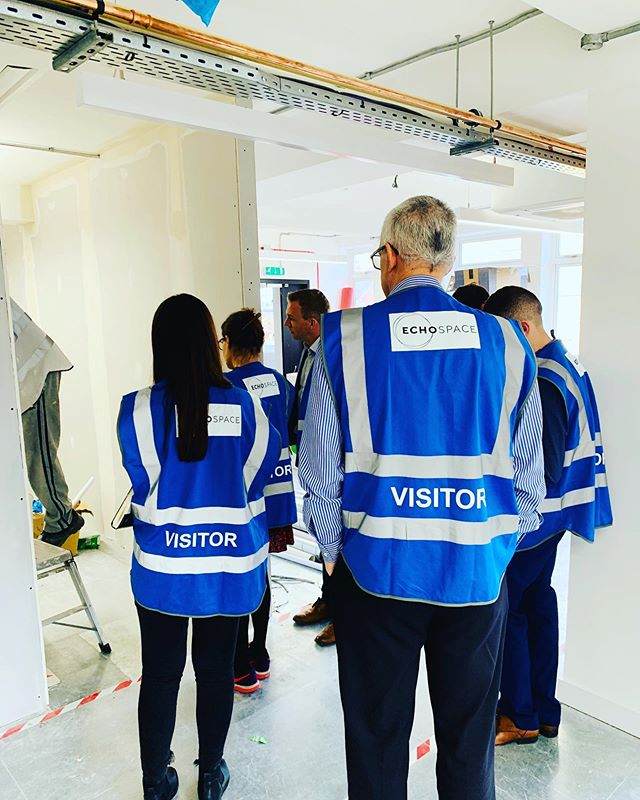 Our client inspecting progress of their new HQ.  3 weeks to go...