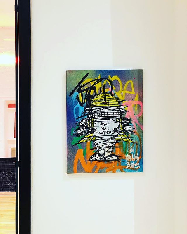 We're loving our awesome @nathanbowenart artwork!  What a brilliant gift to jazz up our office.
