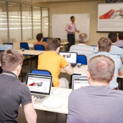rear view of the students in computer class