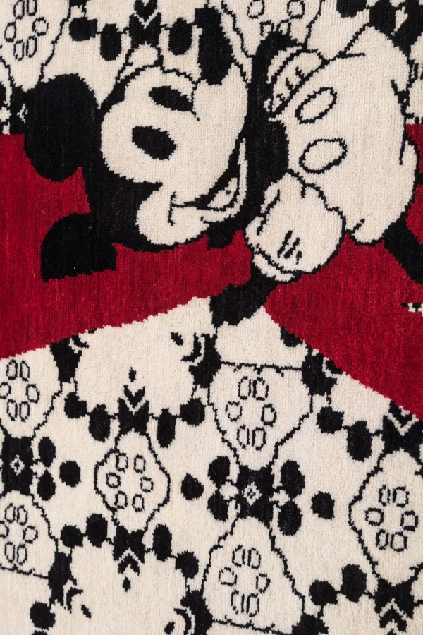 Central Mickey Holding Red Vertical Blinds Rug at Essie Carpets, Mayfair London