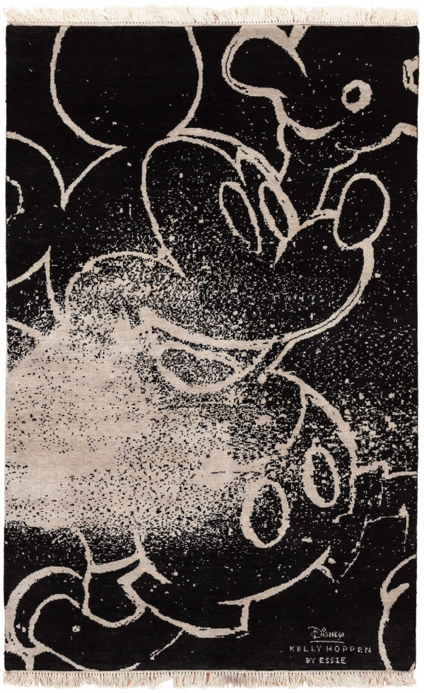 Central Mickey with White Chalk on Black Field Rug at Essie Carpets, Mayfair London