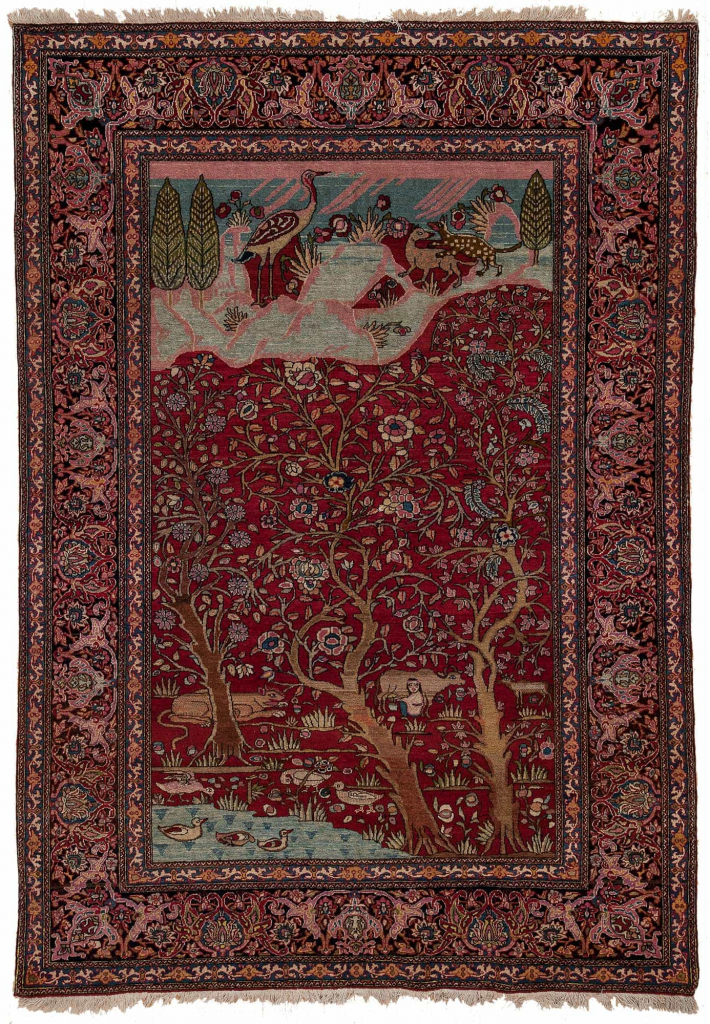 Tree of Life Fine Old Persian Esfahan  Rug at Essie Carpets, Mayfair London