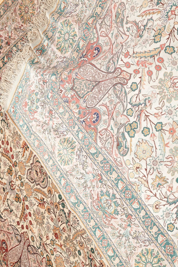 Extremely Fine Signed Turkish Hereke Carpet at Essie Carpets, Mayfair London