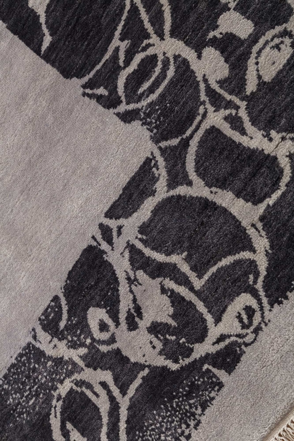 Mickey Character in Border on Plain Grey Field Rug at Essie Carpets, Mayfair London