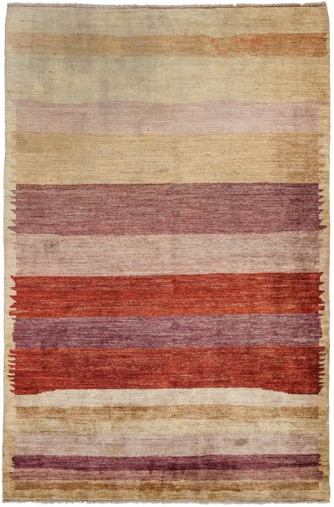Modern stripe Afghan  Rug at Essie Carpets, Mayfair London