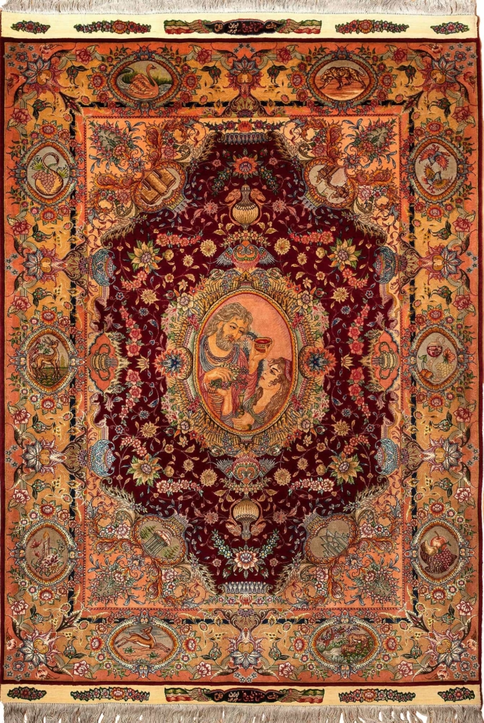 Very Fine  ' Omar Khayam' Signed Persian Tabriz Rug at Essie Carpets, Mayfair London