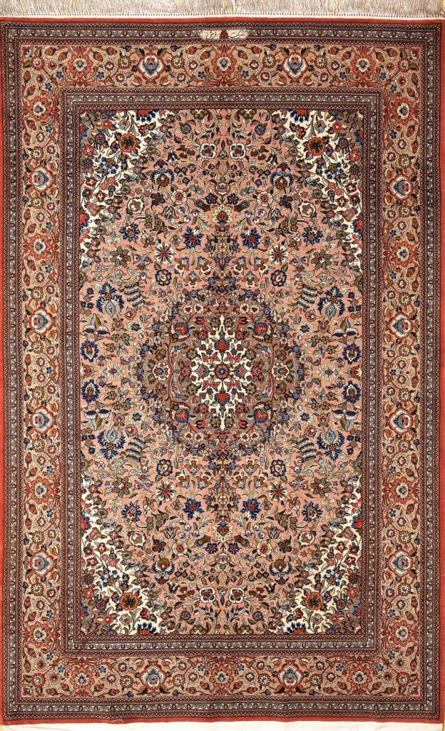 Old Persian Signed Qum Rug at Essie Carpets, Mayfair London