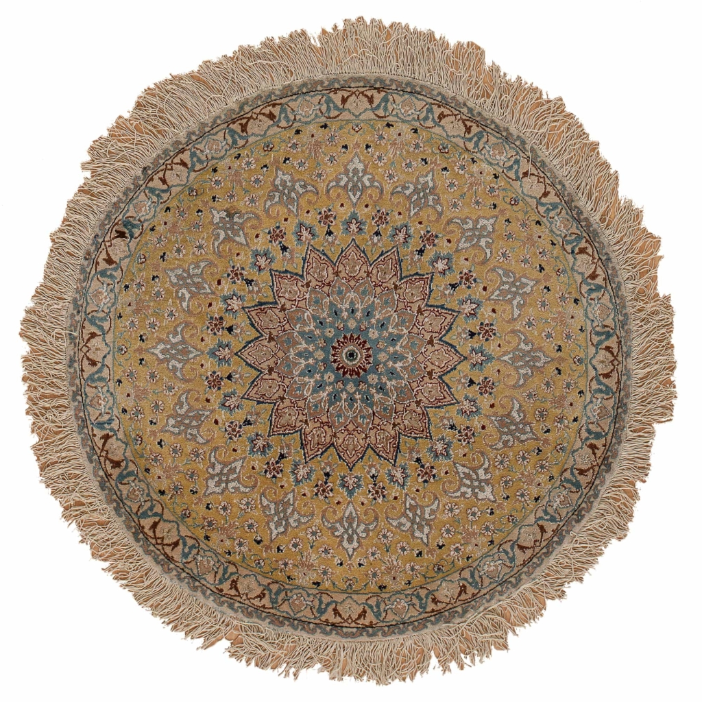 Fine Round Persian Nain Carpet at Essie Carpets, Mayfair London
