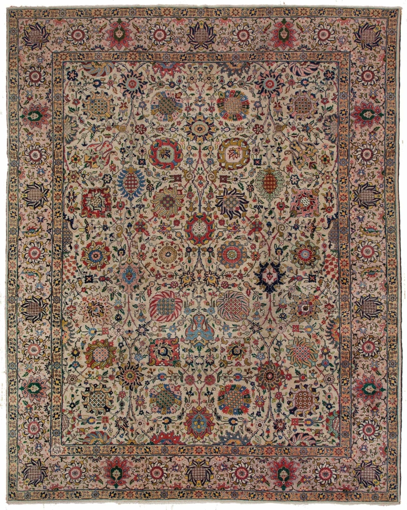 Old Persian Tabriz Carpet at Essie Carpets, Mayfair London