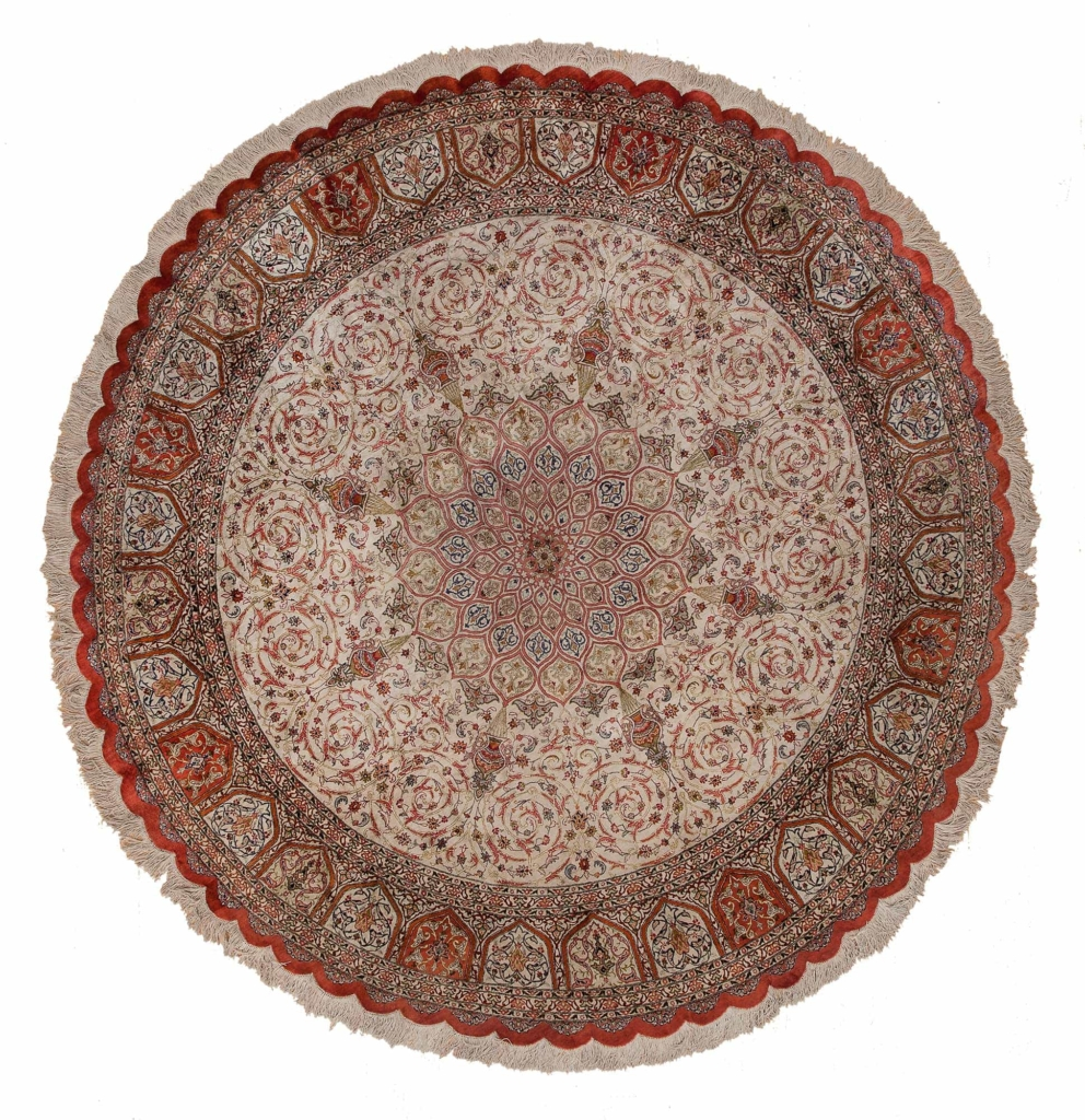 Round Fine Signed Persian Qum Rug at Essie Carpets, Mayfair London