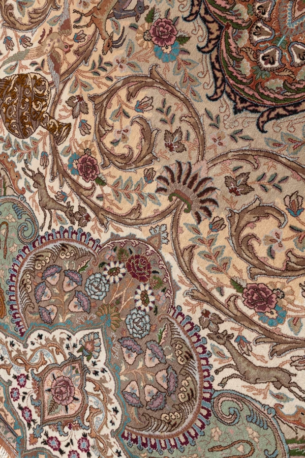 Exquisite Very Fine, Signed Oval Persian Tabriz Carpet at Essie Carpets, Mayfair London