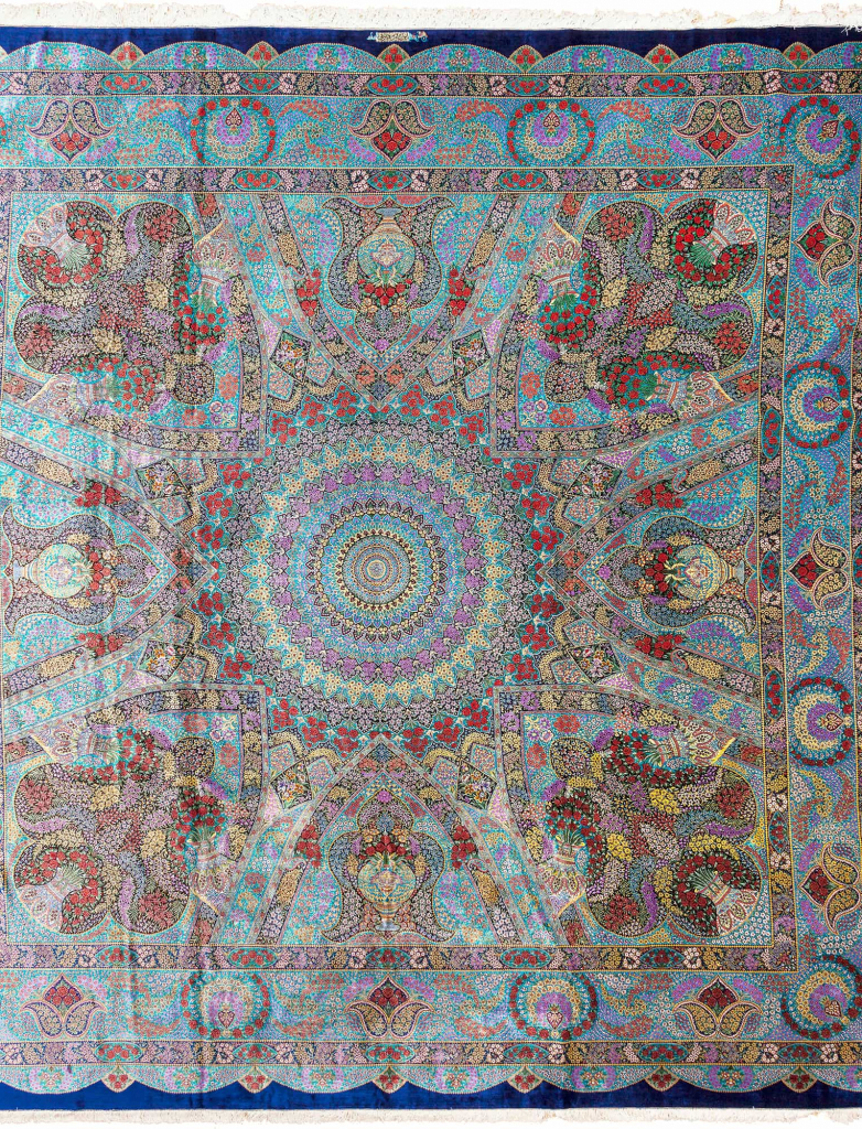 Extremely Fine, Rare, Signed Persian Qum Carpet at Essie Carpets, Mayfair London