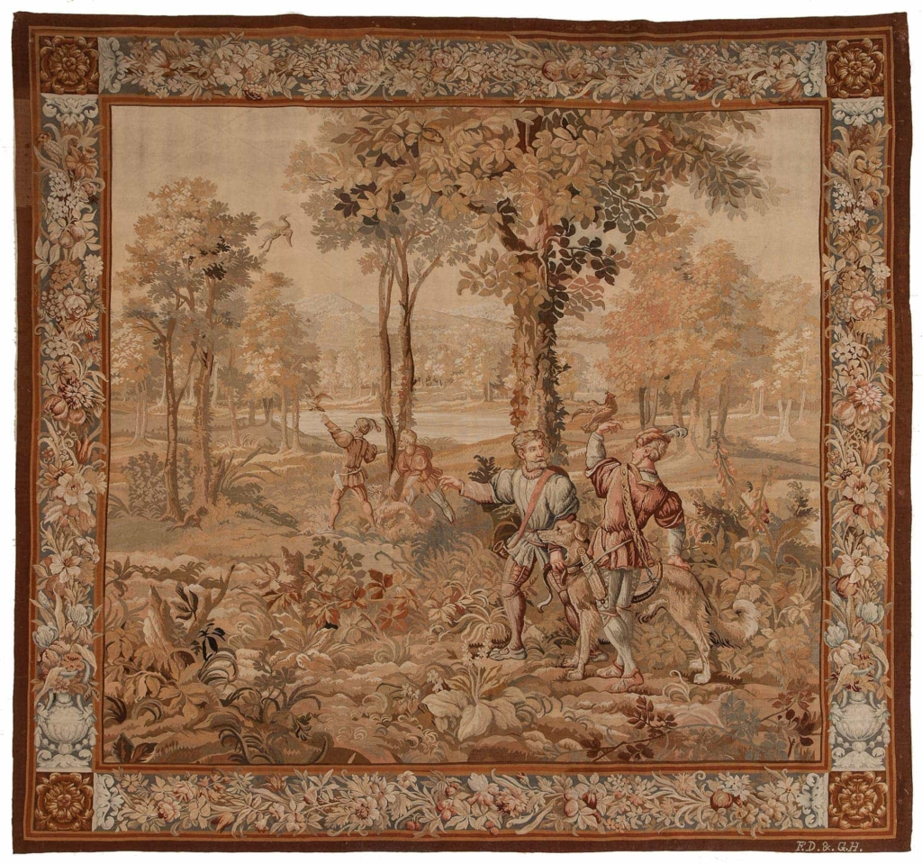Huntnig Scene French Tapestry  Tapestry at Essie Carpets, Mayfair London