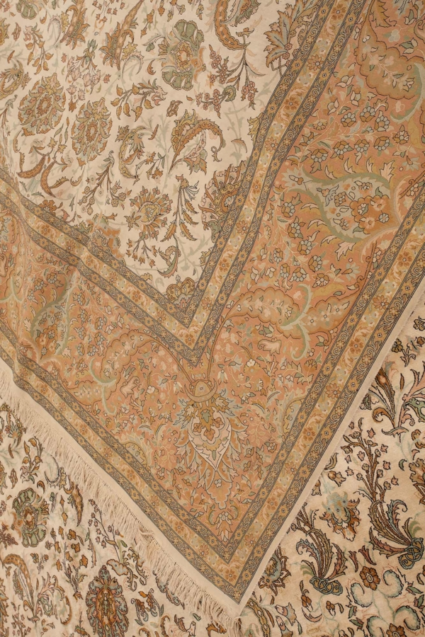 Extremely Fine Rare Signed Square Persian Tabriz Rug at Essie Carpets, Mayfair London