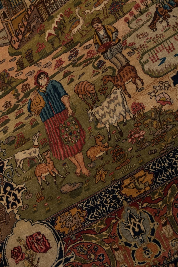 Impressive and Rare, 'Four Seasons' Pictorial Tabriz signed by the designer and the Weaver. The 12 Zodiac signs are shown in  the centre. Carpet at Essie Carpets, Mayfair London
