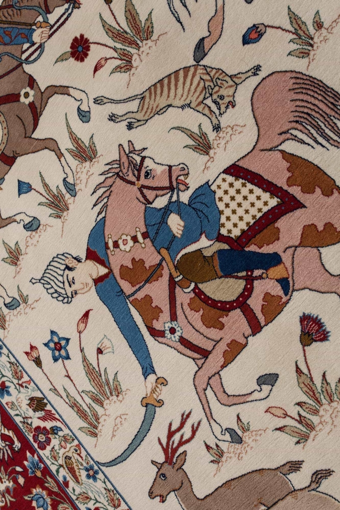 Fine Persian Esfahan Hunting Scene Rug at Essie Carpets, Mayfair London