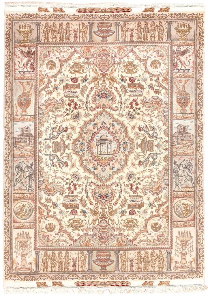Extremely Fine Signed Persian Tabriz, Pictorial Royalty and Iranian Artifacts Rug at Essie Carpets, Mayfair London